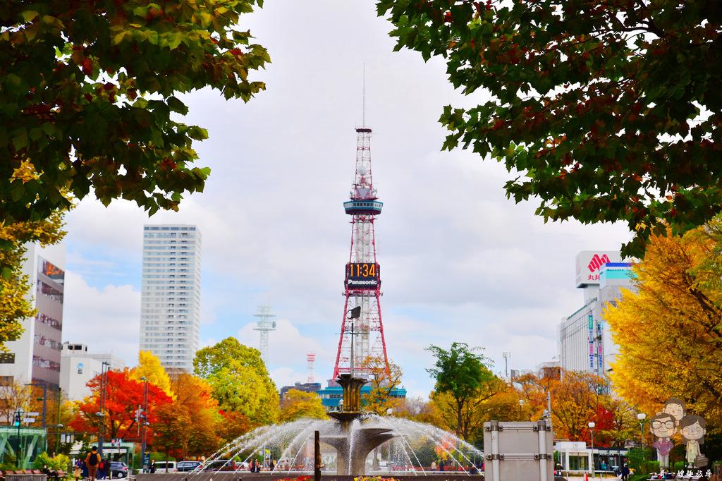 北海道札幌|大通公園的秋日,除了電視塔之外還可賞金黃的銀杏與紅黃變色葉